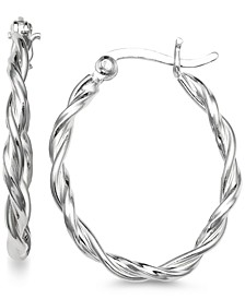 Small Twist Oval Hoop Earrings in Sterling Silver, Created for Macy's