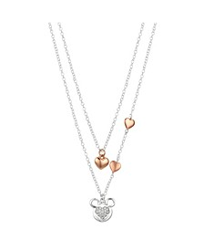 Two-Tone Mickey Mouse Hearts Layer Pendant Necklace
