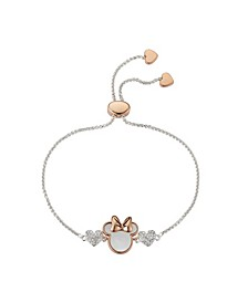 Two-Tone Minnie Mouse Crystal Bolo Bracelet in Fine Silver Plate
