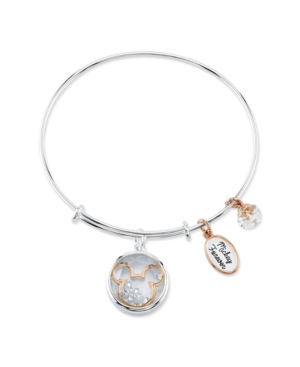 Two-Tone Mickey Mouse Shaker Charm Bangle Bracelet in Fine Silver Plate