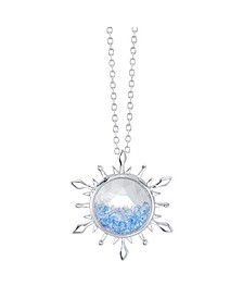 Silver-Tone Frozen 2 Blue Crystal Snowflake Pendant Necklace