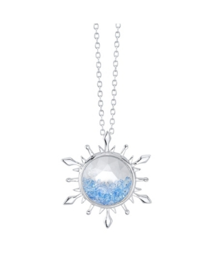 Silver-Tone Frozen 2 Blue Crystal Snowflake Pendant Necklace in Fine Silver Plate