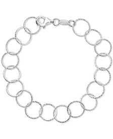 Textured Round Link Bracelet in Sterling Silver, Created for Macy's