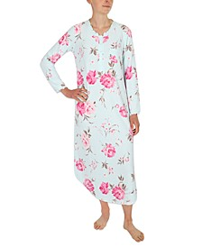 Printed Brushed Waffle Long Nightgown