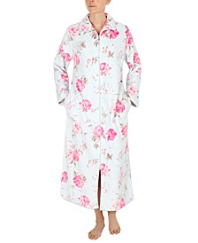 Floral-Print French Fleece Long Zipper Robe
