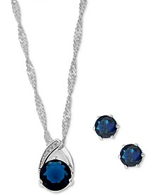 Silver-Tone Pavé & Round Crystal Pendant Necklace & Stud Earrings Set, Created for Macy's