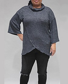 Women's Plus Size 3/4 Sleeve Surplice Cowl Neck Top