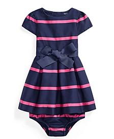 Ralph Lauren Baby Girls Striped Sateen Dress and Bloomer