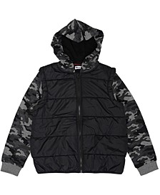 Big Boys Camo Sleeve Full Zip Hooded Puffer Jacket