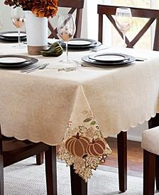 "Harvest Wreath Cutwork Tablecloth, 60"" x 144"""