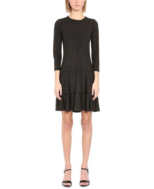Michael Kors Plus Size Metallic-Dot Double-Tiered Dress