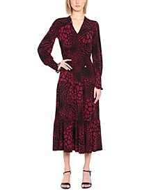 Printed Long-Sleeve Maxi Dress