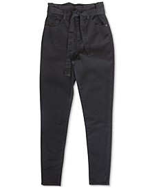 Juniors' High Rise Self Belt Skinny Jeans