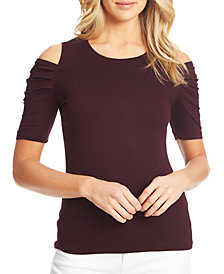 1.STATE Ruched-Sleeve Cold-Shoulder Top
