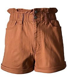 Juniors' Cuffed Paperbag-Waist Shorts