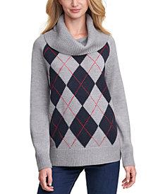 Tommy Hilfiger Argyle Cowlneck Sweater