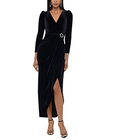 Velvet Embellished Wrap Dress