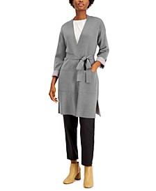 Bracelet-Sleeve Belted Cardigan Sweater