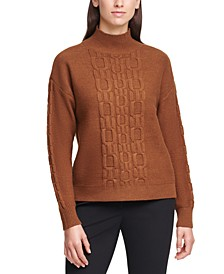 Solid Chain-Stitched Mock-Neck Sweater