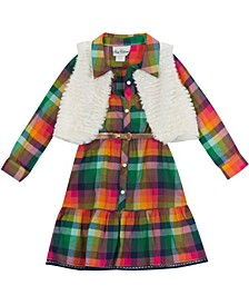 Toddler Girl Plaid Dress With Fur Vest