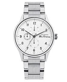 Men's Silver-Tone Stainless Steel Multifunction Watch, 41mm