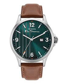 Men's Brown Genuine Leather Strap Classic Three Hand Watch, 44mm