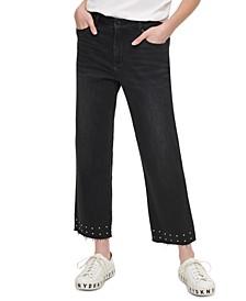 Studded Raw-Hem Jeans