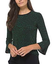 Plus Size Cheetah-Print Flutter-Sleeve Top