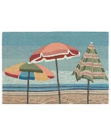 Frontporch Beach Umbrellas Aqua 2' x 3' Area Rug