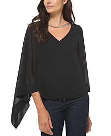 Michael Michael Kors Plus Size Solid Chain-Embellished Sheer-Sleeve Blouse