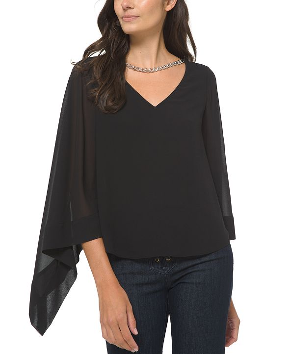 Michael Kors Plus Size Solid Chain-Embellished Sheer-Sleeve Blouse