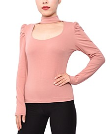 Juniors' Cut-Out Mock-Neck Top