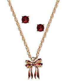 Gold-Tone Bow Pendant Necklace & Crystal Stud Earrings Set, Created for Macy's