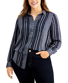 Plus Size Striped Sparkle Top, Created for Macy's