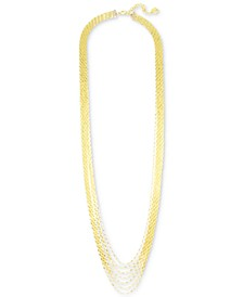 "Tubular Beaded Multi-Row Strand Necklace, 35"" + 3-1/2"" extender"