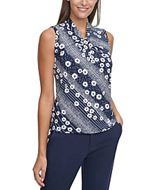 Printed Knot-Neck Top