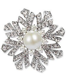 Silver-Tone Crystal & Imitation Pearl Snowflake Pin, Created for Macy's