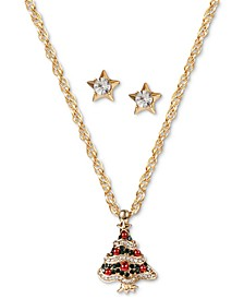 Gold-Tone Crystal & Imitation Pearl Tree Pendant Necklace & Star Stud Earrings Set, Created for Macy's