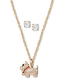Gold-Tone Crystal Dog Pendant Necklace & Stud Earrings Set, Created for Macy's