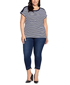 Plus Size Crochet-Trim Striped Top