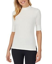 Softwear Elbow-Sleeve Mock-Neck Top