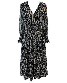 Plus Size Animal-Print Smocked-Chiffon A-Line Dress