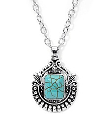 Simulated Turquoise in Fine Silver Plated Crest Pendant Necklace