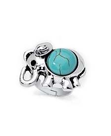 Simulated Turquoise in Fine Silver Plated Elephant Adjustable Ring