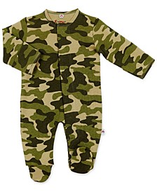 Baby Boy Green Camouflage Magnetic Footie