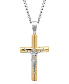 Men's Rounded Cross Crucifix Pendant Necklace in Two-Tone Stainless Steel