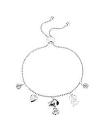 "Fine Silver Plated Cubic Zirconia ""2021"" Snoopy Charm Adjustable Bolo Bracelet"