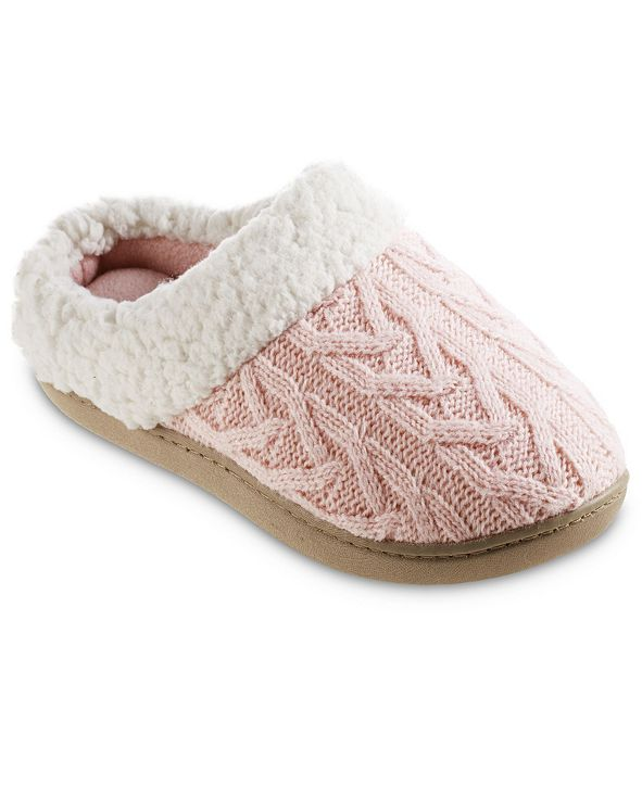Isotoner Signature Women's Cable Knit Alexis Hoodback Slippers