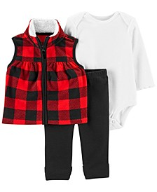 Baby Girl 3-Piece Buffalo Check Little Vest Set