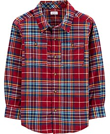 Big Boy Plaid Twill Button-Front Shirt